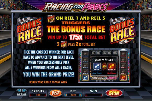 racing for pinks bonus